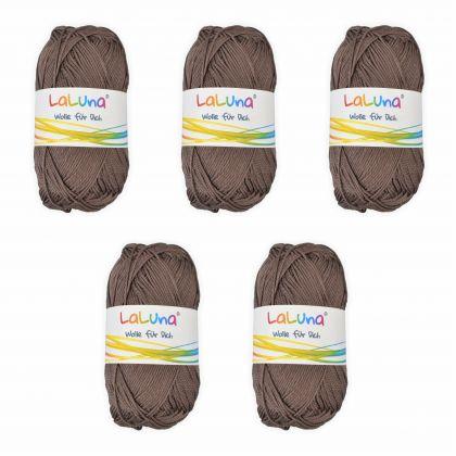 5er Pack Basic Wolle hellbraun 100% Baumwolle 250g, Strick und Häkelgarn der Marke LaLuna®