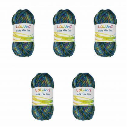 5er Pack Filzwolle mixed colors gelb, blau 250 g 100 % Schurwolle , Wolle zum Stricken und Filzen