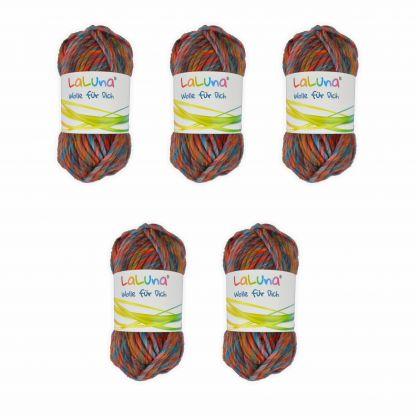 5er Pack Filzwolle mixed colors orange, türkis 250 g 100 % Schurwolle , Wolle zum Stricken und Filzen