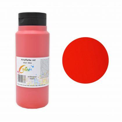 Acrylfarbe rot hochwertige Malfarbe in einer 500 ml Flasche