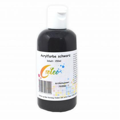 Acrylfarbe schwarz hochwertige Malfarbe in einer 150 ml Flasche