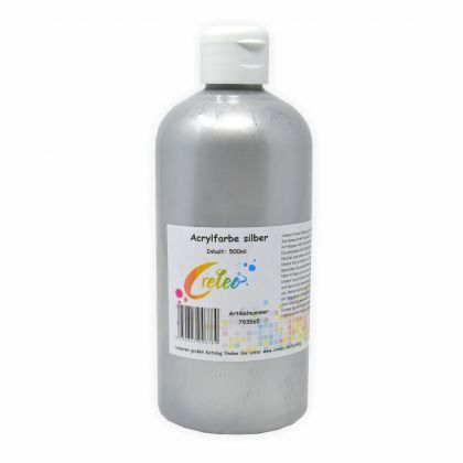 Acrylfarbe silber hochwertige Malfarbe in einer 500 ml Flasche