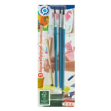 Aquarellpinsel Set, 3 Stück, 2-4-6, FSC zum Malen mit Aquarell-, Acryl- und Wasserfarben, ideal auch für die Schule