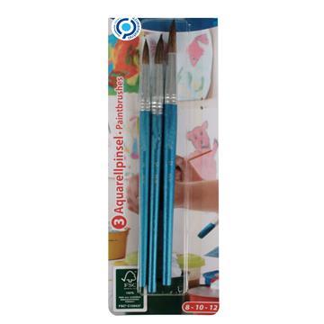 Aquarellpinsel Set, 3 Stück, 8-10-12, FSC zum Malen mit Aquarell-, Acryl- und Wasserfarben, ideal auch für die Schule