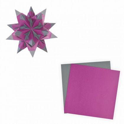Bascetta-Stern 20x20 cm 30 Blatt lila anthrazit 75 g/m²