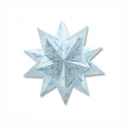 Bascetta-Stern Set, 20x20cm, 32 Bl. Weiß/Winterornament eisblau