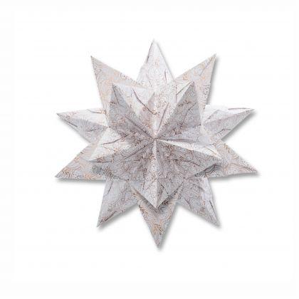 Bascetta-Stern Set, 20x20cm, 32 Bl. Weiß/Winterornament Kupfer