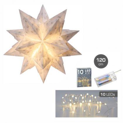 Bascetta Stern mit LED 15 x 15 cm 32 Blatt weiß / silberne Schneeflocken Bastelset