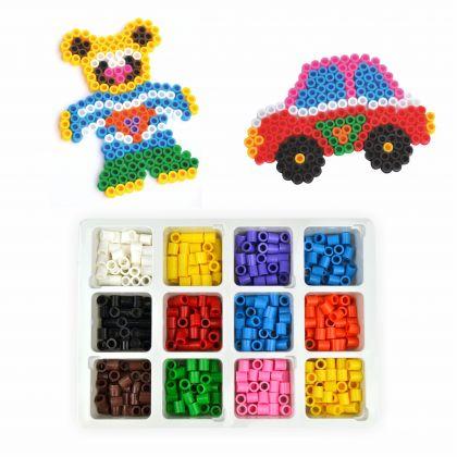 Bügelperlen Bastelset Perlenset Maxi XL Auto und Bär ca. 600 Bügelperlen