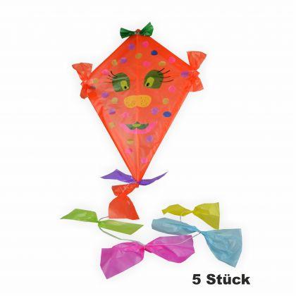 Drachen Bastelset 5 Stück inkl. Zubehör orange zum bemalen