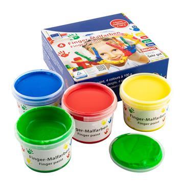 Fingerfarben Fingermalfarben, 4 Becher à 100 ml in rot, gelb, grün und blau