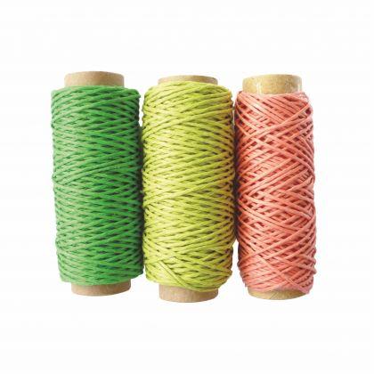 Hanfgarn Band bunt 3 Stück grün gelb rose 20m 1 mm