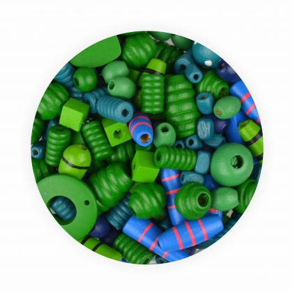 Holzperlen 250g ca. 750 Stück blau und grün in verschiedene Größen und Formen