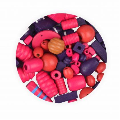 Holzperlen 250g ca. 750 Stück rosa und lila in verschiedene Größen und Formen