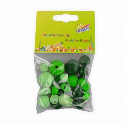 Holzperlen grün Farben - Formen Mix 25 Stück