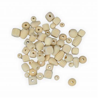 Creleo - Holzperlen-Holzkugeln Mix 500g verschiedene Formen und Größen