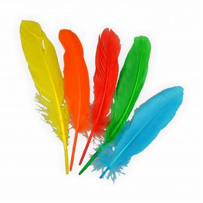 Creleo - Indianerfedern bunt ca. 110-120 Stück Länge 15 cm in 5 Farben Gänsefedern