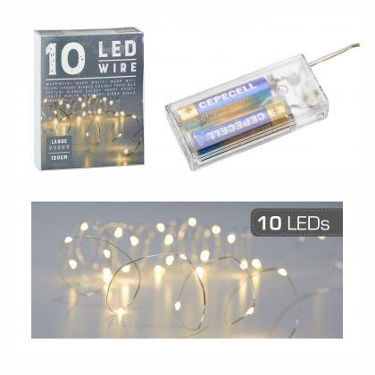 Lichterkette Mikro 10 LED`s 1,2 Meter lang warmweiß
