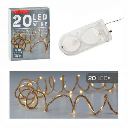 Lichterkette Mikro 20 LED`s Juteband 1,2 Meter lang warmweiß