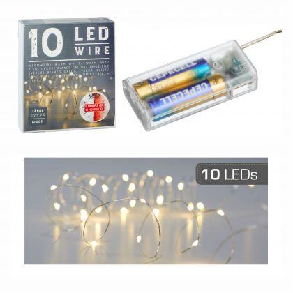 Lichterkette Mikro mit TIMER 10 LED`s  1,2 Meter lang warmweiß