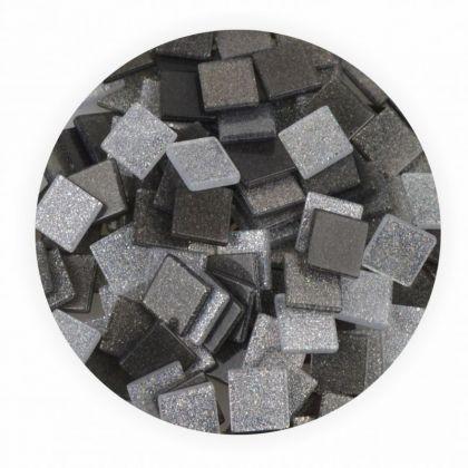 Mosaiksteine 10x10mm Glitter Mix grau 190 Stück 45 g