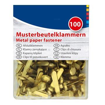 Musterklammern, goldfarbend, 100 Stück Länge: 19 mm