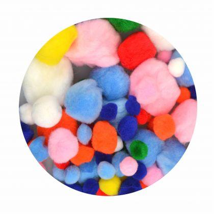 Pompons 100 Stück gemischte Farben und Größen