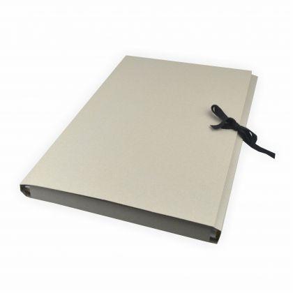 Creleo - Sammelmappe aus Graupappe mit Band, DIN A3 ohne Druck Karton grau mit 3 Klappen bis zu ca. 200 Blatt a 80g/m²