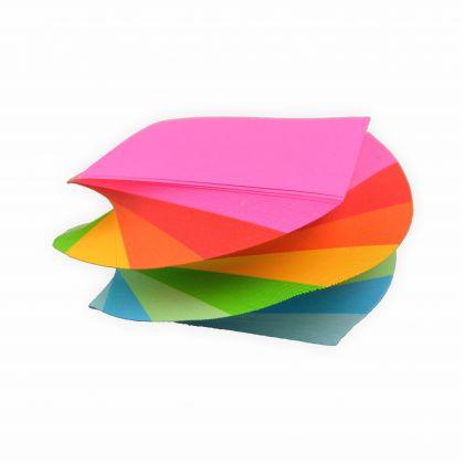Creleo - Spiral Notizklotz Spirale Zettelklotz gedreht in Regenbogen farben 80g/m², 370 Blatt in 7,5x7,5cm geleimt