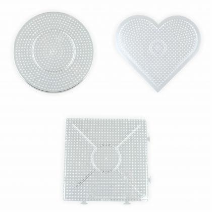 Stiftplatten für Bügelperlen Midi - 5 mm Viereck Kreis Herz je ca. 15x15 cm