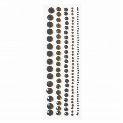 Strass Sticker Bordüren 114 Stück braun 5 verschiedene Größen