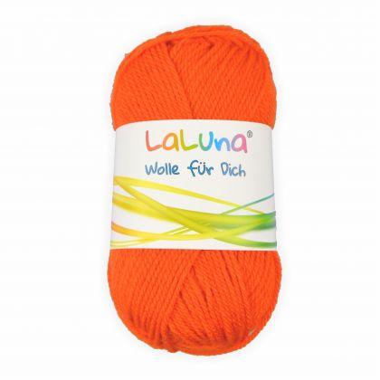 Uni Wolle orange 100 % Polyacryl Wolle 50g - 135m, Garn zum Stricken & Häkeln, Marke: LaLuna®
