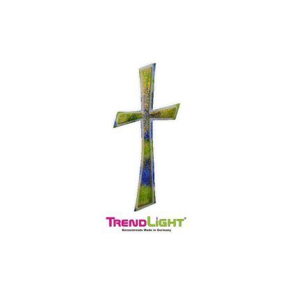 Wachsornament Kreuz grün/blau 110x45 mm