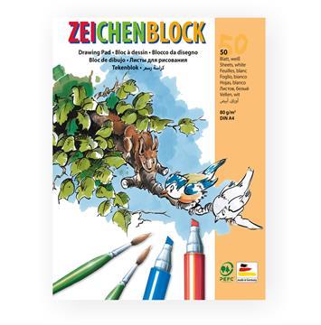 Zeichenblock - Malblock 80g/m² weiß DIN A4 50 Blatt