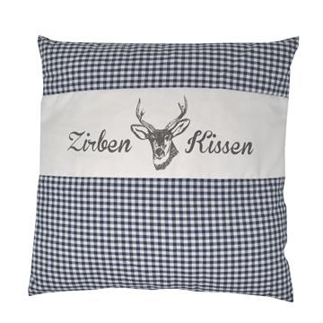 Zirbenkissen Dekokissen mit Zirbenholz Alpen 100% Baumwolle 40x40 cm blau-weiß kariert, natürlich duftend