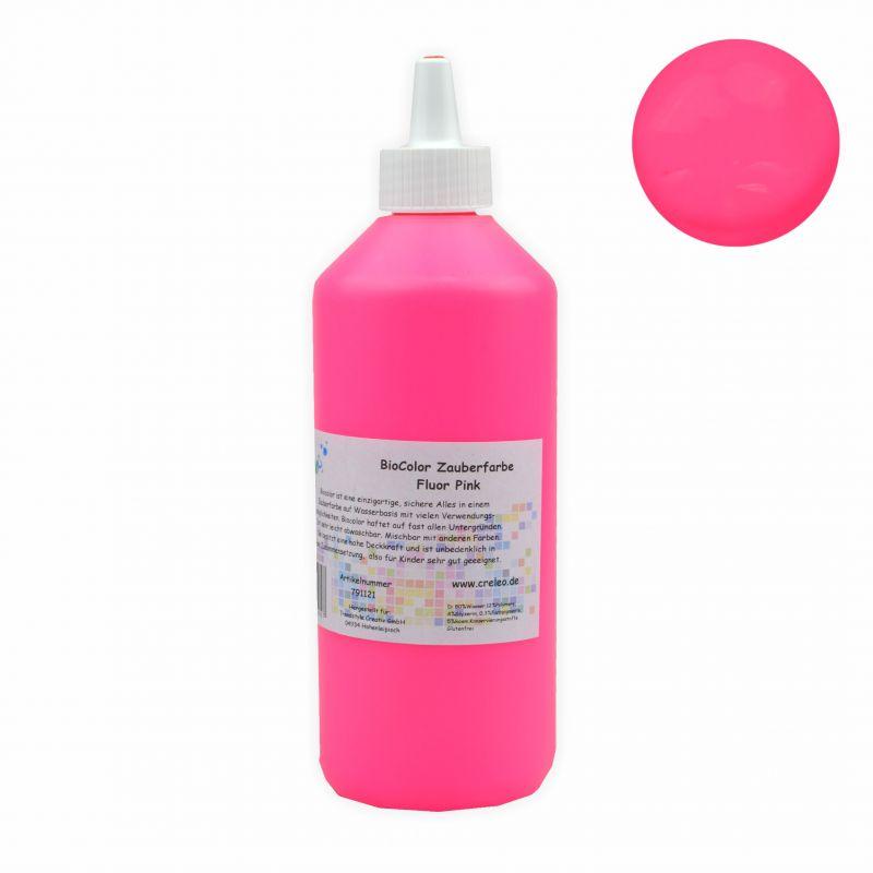 biocolor acrylfarbe zauberfarbe flasche 500 ml fluor pink creleo der bastelshop f r. Black Bedroom Furniture Sets. Home Design Ideas