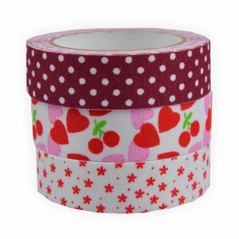 fabric tape stoff klebeband 3 er set rott ne creleo der bastelshop f r kreative k pfe. Black Bedroom Furniture Sets. Home Design Ideas