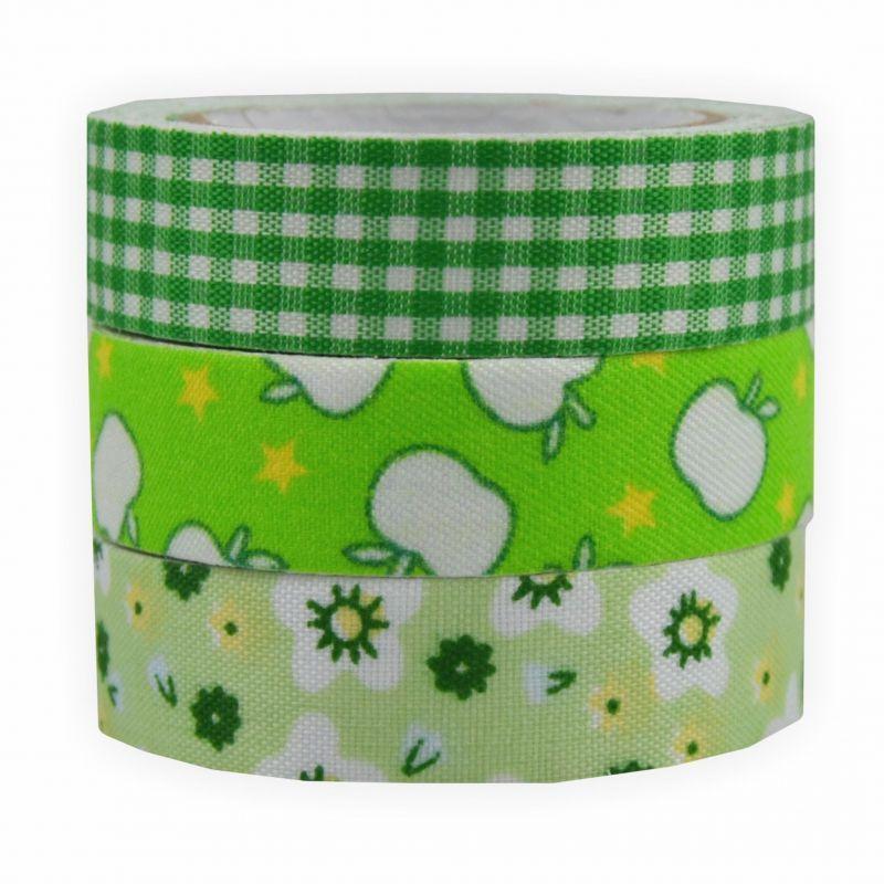 fabric tape stoff klebeband 3 er set gr nt ne creleo der bastelshop f r kreative k pfe. Black Bedroom Furniture Sets. Home Design Ideas