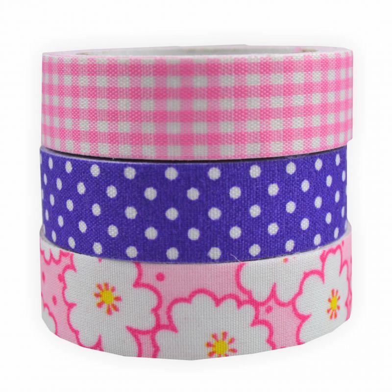 fabric tape stoff klebeband 3 er set rosat ne creleo der bastelshop f r kreative k pfe. Black Bedroom Furniture Sets. Home Design Ideas