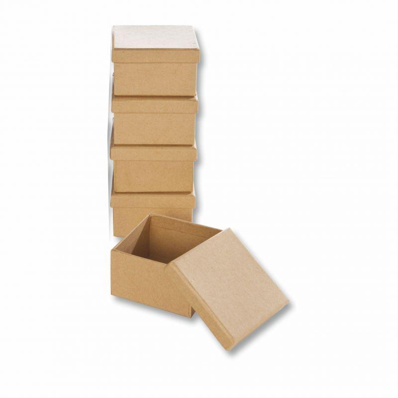 papp boxen 5 st ck eckig 7 5x7 5x4 5cm bastelboxen mit deckel creleo der bastelshop f r. Black Bedroom Furniture Sets. Home Design Ideas