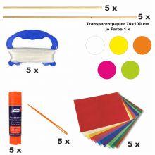 Drachen Bastelset 5 bunte Farben inkl. Zubehör weiss, gelb, pink, hellgrün, orange