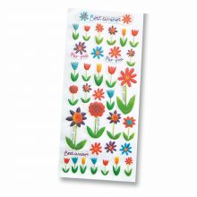 Epoxy-Sticker 3D Ganzjahr Best Wishes Blumen